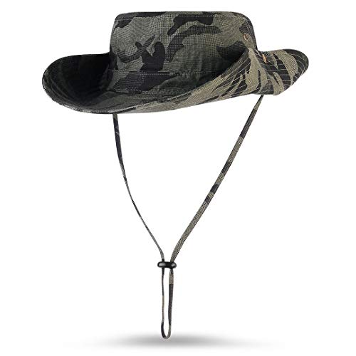 Mamilafe Camouflage Boonie Hats Sun Protection with Snaps for Men Women Fishing Hunting Safari Hiking, Army Green