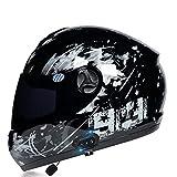 Cascos Bluetooth Motocicleta, Cascos Integrales Modulares Moto Auriculares Bluetooth con Dos Altavoces, Respuesta Automática Manos Libres, Casco Anticolisión Visor Flip-up Aprobado Dot