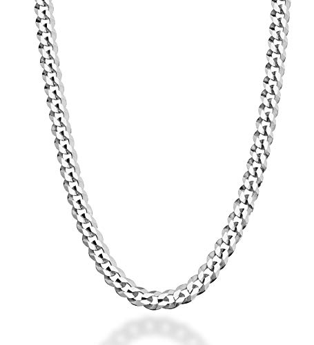 Miabella Solid 925 Sterling Silver Italian 5mm Diamond Cut Curb Link Chain Necklace for Women Men, 16, 18, 20, 22, 24, 26, 30 Inch Made in Italy (30)