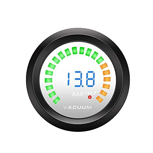 GUOCAO Universal 52mm LED 2 in 1 Tachometer + Spannungsanzeige RPM Meter Boost Gauge Balken PSI/Vakuum/Wasser Temp/Öle Temp/Öldruck/Voltmeter Auto Spur (Color : Vacuum Gauge)