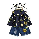 Conjunto de ropa de verano para bebés y niñas, con correa de girasol, parte superior de tirantes, pantalones cortos de mezclilla para niños, 2 unidades de trajes florales