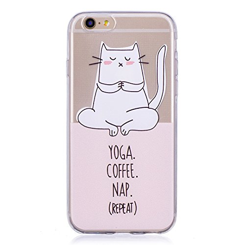 Janeqi Funda Apple iPhone 6/6S(4.7') - Caja del teléfono Transparente TPU Suave Cáscara Case Cover para Apple iPhone 6/6S(4.7') - C11/Gato de Yoga