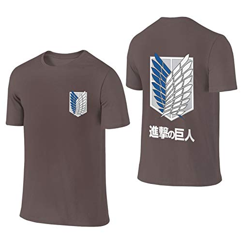 Attack On Titan Anime Survey Corps Crew Neck Short-Sleeve T-Shirt for Men Adult Large