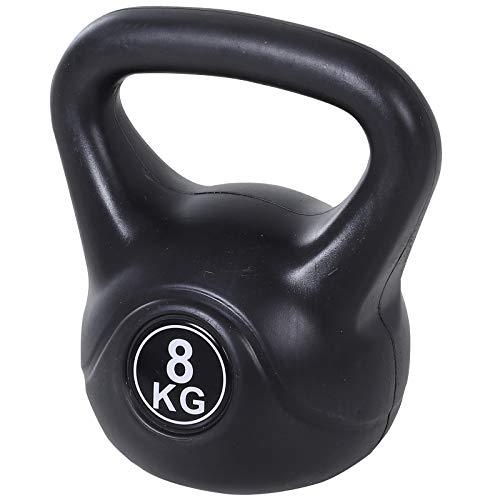 homcom Kettlebell da 8 kg per Sport e Fitness in PVC con Sabbia e Maniglia Liscia Anti-Sfregamento