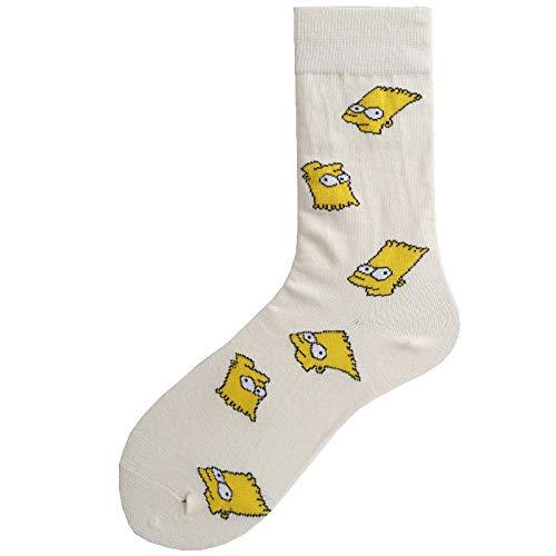 SIHIELOA 3 Paar Socken New Tide Socken Street Personality Wilde Männer und Frauen Baumwolle Rohr Socken weiß Simpson