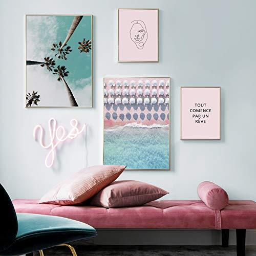 Palme rosa Strand Frau Zitat Regenschirm Wandkunst Leinwand Malerei nordische Poster und Drucke Wandbilder für Wohnzimmer Dekor G 4pcs