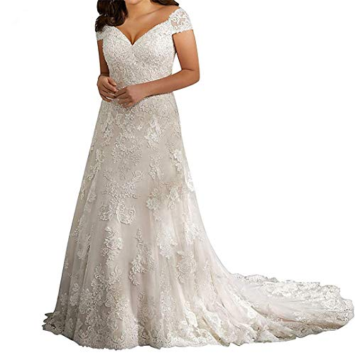iluckin Off The Shoulder Cap Sleeves A Line Lace Wedding Dresses with Train for Women Bride Long Ball Gown Plus Size Ivory