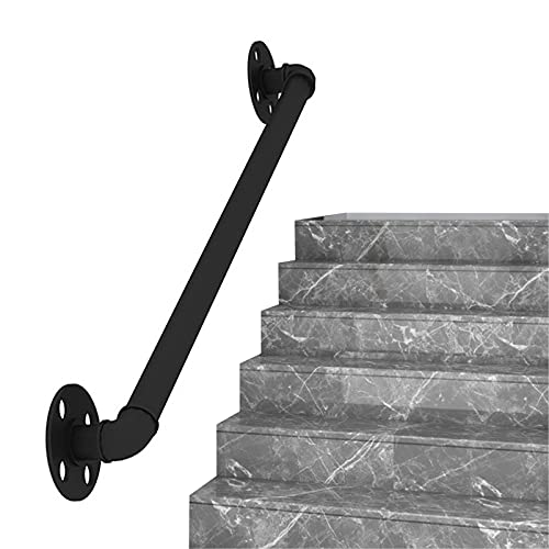Pasamanos Escalera, Pasamanos de 1-4 pies para escaleras con 2 Soportes de Montaje en Pared, pasamanos para escalones para Exteriores e Interiores, Estilo de Esquina Redonda (Negro)