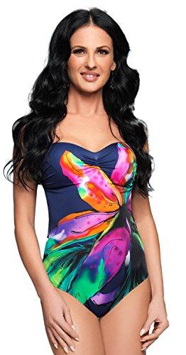 Selente My Secret attraktive Bademode (Bikini/Badeanzug) in großen Größen (C-Cup bis H-Cup) mit vorteilhaftem Schnitt, Badeanzug dunkelblau/bunt, Gr. XL