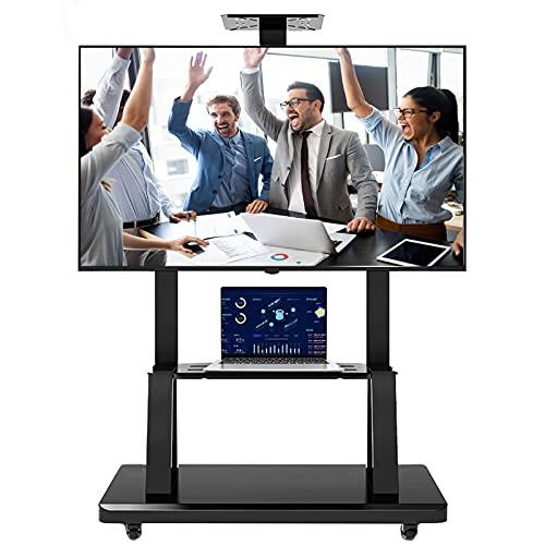 SSZY Soporte TV Trole Carrito de TV con Soporte para TV con Almacenamiento, Se Adapta a Televisores de 60/50/75/70/55 Pulgadas, Soporte Universal para TV, Piso Negro Resistente