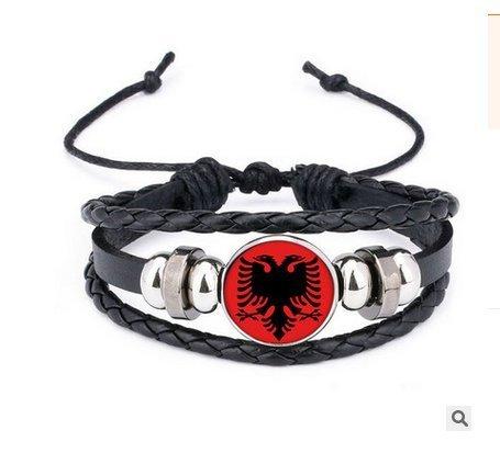 Hilai Albanische Flagge Flagge Staat gesponnenes Armband mit Perlen-Entwurfs-Armband für Fans Fußball-Fanartikel Russland 2018