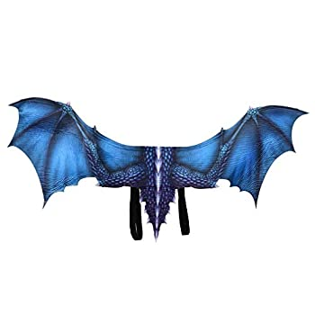 Dragon Costume Wings Demon Eagle Animal Wings Halloween Mardi Gras Cosplay Accessory for Kids Adult  Blue