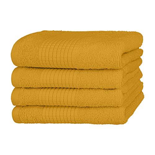 Merana Handtuch Set | saugstark, weich und fusselfrei | Frottier Gäste-Handtuch Qualität aus Schwerer Bio-Baumwolle 590 GSM (Mango Gold, 4 x Gästetücher (30x50cm))