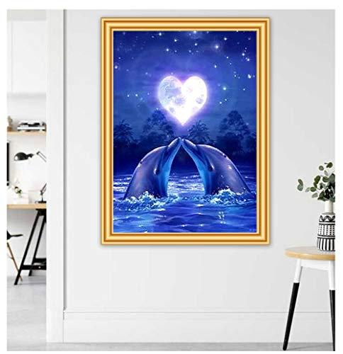 DIY Diamant Painting Bilder Voll Kits für Erwachsene Kinder Blue Dolphin 5D Diamond Painting Full Set Kristall Strass Stickerei Kreuzstich für Home Wall Decor -Round Drill,11.8x15.7inch/30x40cm
