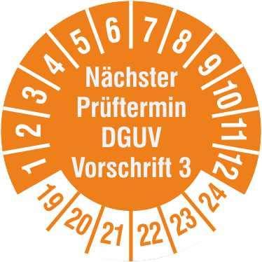 TE-Office 500 Stück DGUV 3 Prüfplaketten Aufkleber 19-24 Nächster Prüftermin DGUV Vorschrift 3 orange Rolle 1-bahnig 30 mm Durchmesser laminiert abriebfest
