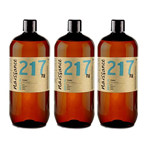 Naissance kaltgepresstes Rizinusöl (Nr. 217) 3 Liter (3 x 1000ml) - reines, natürliches, veganes, hexanfreies, gentechnikfreies Öl - pflegt und spendet Feuchtigkeit für Haare, Wimpern und Augenbrauen