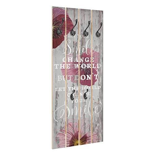 Bilderwelten Perchero de Madera Shabby Orchid   Smile   Ganchos Negros 100x40 cm