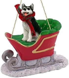 Conversation Concepts Siberian Husky Sleigh Ride Christmas Ornament Black-White Brown Eyes - Delightful!
