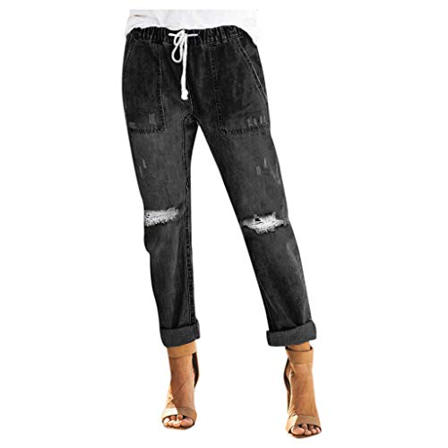 Routinfly Stretch Moonwashed Jeans,Damen Hose,Damen Jeans,Casual elastische Jeanshose,Stretch Denim Pants,Frauen Pull-On Distressed Denim Jogger elastische Taille Stretchhose