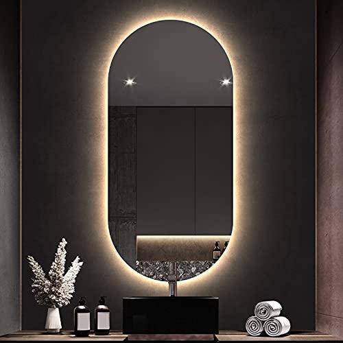 LBSI Espejo de Baño LED Ovalado, Espejo de Pared con Iluminación, Espejo de Maquillaje con Interruptor Táctil y Antivaho, IP44