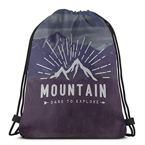 Lfff Rucksäcke Taschen, Wagen Sie zu erkunden Zitat Berglandschaft Reise Abenteuer Themen Motivationsbild, verstellbare Schnurverschluss