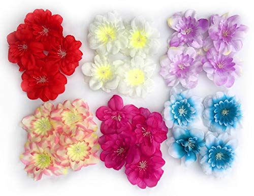 Delphinium Flower Heads - Peel and Stick Flat Back Flowers for Grad Cap Decoration - Assorted Colors - Flowers, Floral Stickers, Adhesive