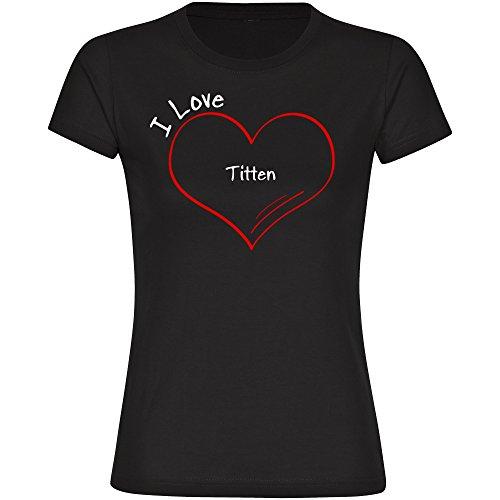 Damen T-Shirt Modern I Love Titten - schwarz - Größe S bis 2XL, Größe:XXL