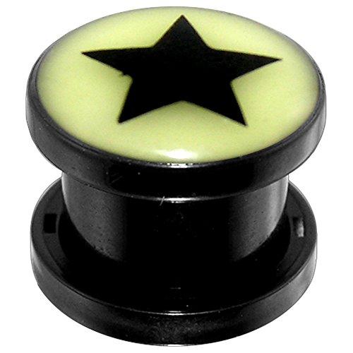 5MM Glow in Dark Star Bild schwarz Acryl Gauge Fleisch Tunnel Ohrenpiercing