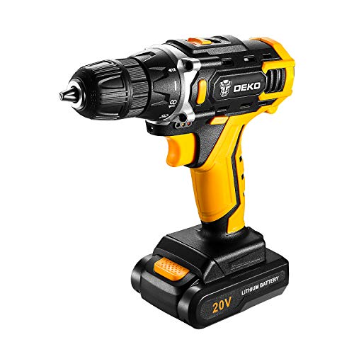 DEKO Cordless Drill, 20V Max Lithium-Ion Drill Driver Kit with 2-Speed, 3/8' Keyless Chuck, 18+1 Torque Setting, Built-in LED for Drilling Wood, Plastic, Metal