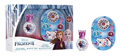 Disney Frozen II Eau de toilette et design des ongles : parfum Anna & Elsa dans un beau flacon en verre avec bouchon couronne, vernis à ongles et accessoires pour ongles 30 ml