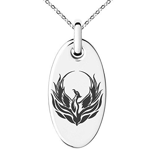 Tioneer Stainless Steel Greek Mythology Phoenix Symbol Small Oval Charm Pendant Necklace