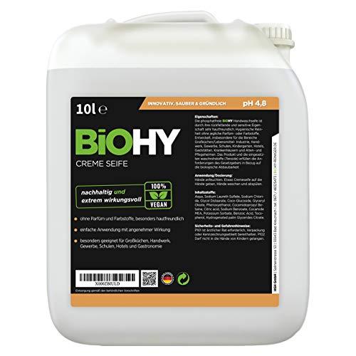 BiOHY Creme Seife (10l Kanister) | Hautschonende, rückfettende und geruchsneutrale Handseife Nachfüller aus dem pflanzlichen Bereich PHOSPHATFREI | Ohne Parfüm und Farbstoffe