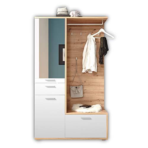 ENTRA Flurgarderoben Set in Artisan Eiche Optik, Weiß - Stylishe Kompaktgarderobe mit Spiegel für Ihren Eingangsbereich - 117 x 198 x 38 cm (B/H/T)