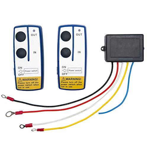 Riloer Kit de Control Remoto de Cabrestante Inalámbrico de 2 Piezas 12V, Controlador de Interruptor de Auricular Universal para Camión de Coche