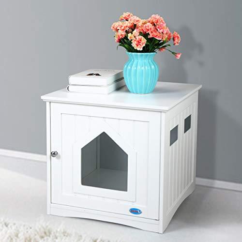 COZIWOW Decorative Hidden Litter Box Enclosure,Cat Litter Box Furniture Hidden, Enclosed Cat House...