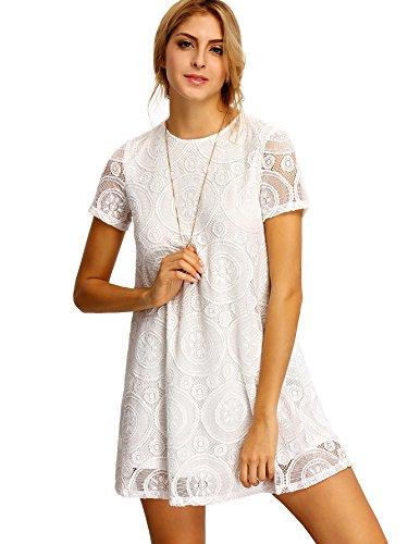 Romwe Women's Short Sleeve Summer Lace Wide Hem Dress White M