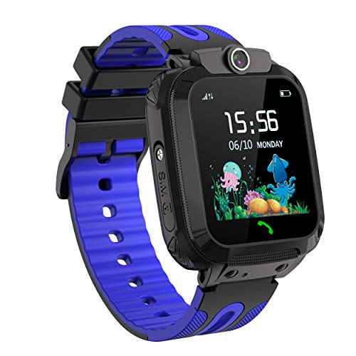 SmartWatch Niños, Reloj Inteligente para Niños, Localización LBS Llamadas Pantalla Táctil Impermeable SOS Cámara Regalo de Cumplea?os para Niños de 3-12 (Blue)