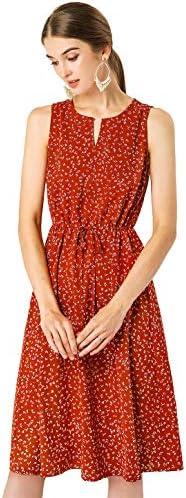 Allegra K Women s Printed Split Neck Drawstring Waist Sleeveless A Line Midi Dress X Small Red product image