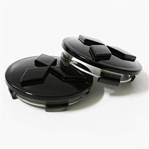 XCBW 4er-Set 60-mm-Radnabenkappen mit Emblem-Logo Auto-Styling-Radkappen für M-itsubishi Outlander 3.0 Lancer,Schwarz