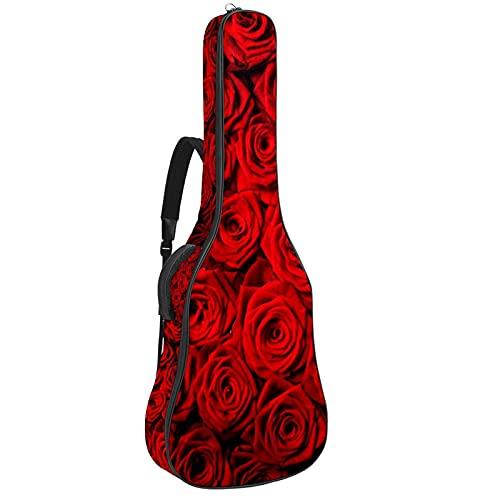 Funda de Guitarra Española Rosa Roja Romántica Bolsa Acolchada Para Guitarra Acústica con Asa de Transporte y Correa Para el Hombro 109x43x12cm