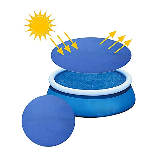 Hzc-US 12 Ft Round Pool Cover - Solar Pool Cover, Pool Solar Blanket, Reduce Water Evaporation Keep Water Warm, Easy Set Pool Blanket Covers for Frame Pools (12Ft)