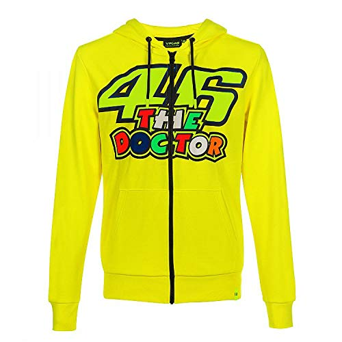Valentino Rossi Vr46 Classic-46 The Doctor, Full Zip Hoodie Uomo, Giallo, XL