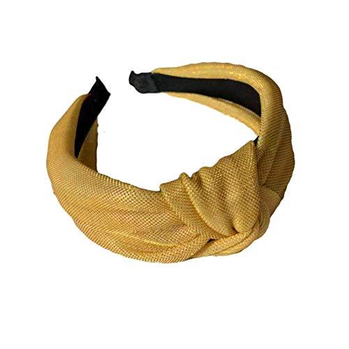 Strimusimak Mode Femmes Large Noué Noeud Papillon Bandeau Bande De Cheveux Visage Lavage Accessoire Cheveux Chouchous Bandes Jaune