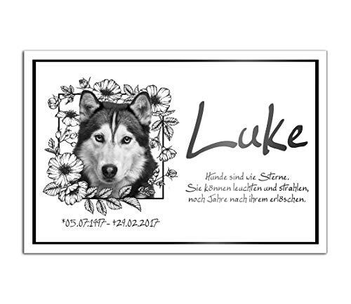 CHRISCK design Premium Tier Grabstein aus edlem Hochglanz Acrylglas | 100% witterungsbeständig Grabplatten mit Foto Bild UV Druck 30x20 cm Gedenktafel für Haustiere Hunde Hund Katze