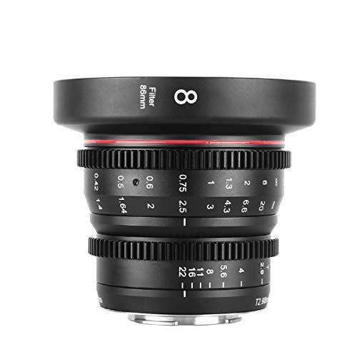 Meike 8mm T2.9 Mini Fixed Prime Manual Focus Wide-Angle Cinema Lens for M43 Micro Four Thirds MFT Mount Cameras BMPCC 4K Z CAM E1 E2 Black