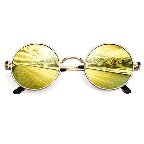 CGID Retro Vintage Sonnenbrille, inspiriert von John Lennon, polarisiert mit rundem Metallrahmen, für Frauen und Männer Verspiegelt Gold Orange E01
