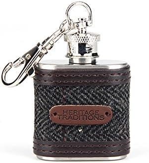 Heritage Traditions 1oz Tweed Hip Flask Keyring Charm Blue Box