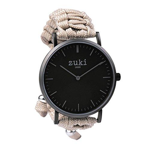 Hecho a Mano Pulsera de Reloj con Color Beige Banda–Swiss Mecanismo de Cuarzo con Segunda Contador–Hombres y Mujeres–Casual y Fashion Reloj de Pulsera–Color Negro Mate con Negro–por Zuki