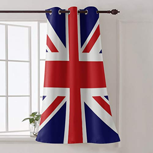 Room Darkening Vintage UK Flag Window Curtains, Red White and Blue Thermal Insulated Modern Window Covering Soundproof Drape Panel for Patio Door - 52 inch Wide by 90 inch Length