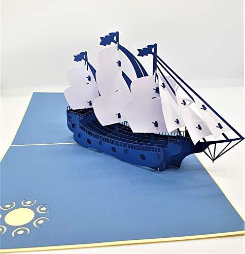BC Worldwide Ltd handgemachte 3D-Pop-up-Karte Vintage blau weiß Galeone Boot Schiff Schiff Geburtstag, Vatertag, Hochzeitstag, Abschlussfeier, Valentinstag Geschenk